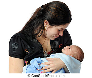 A beautiful young mother bonding with her new son. Isolated on white.