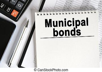 bonds., テーブル, ノート, うそ, 計算機, inscription-, smartphone, 市の