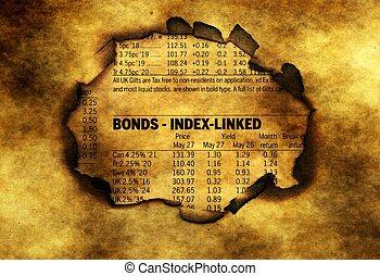 Bonds index on grunge background