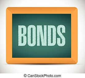 bonds sign on a board. illustration design over a white...
