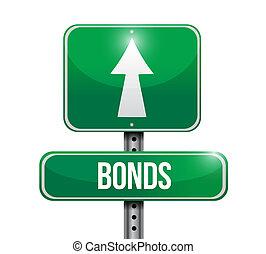 bonds street sign illustration design over a white...