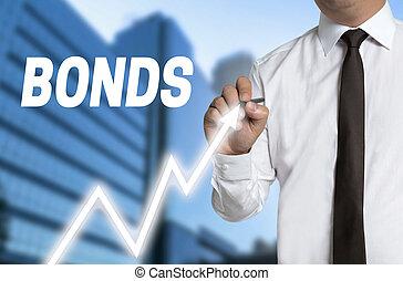 bonds trader draws market price on touchscreen
