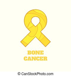 Bone cancer awareness papercut ribbon