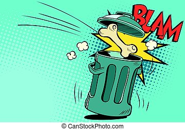 Bone dog flies in the trash. Cartoon comic illustration pop...