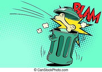 Bone dog flies in the trash. Cartoon comic illustration pop...