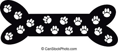 Bone dog with paws on white background.