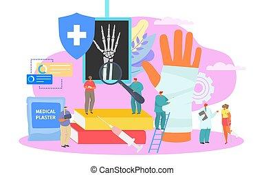 Bone fracture, professional medical treatment, vector ...