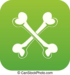 Bone icon green vector isolated on white background