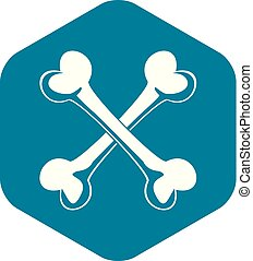 Bone icon, simple style - Bone icon. Simple illustration of ...