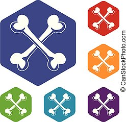 Bone icons vector hexahedron - Bone icons vector colorful ...