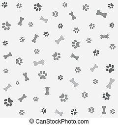 bone, tryk, hund, baggrund, pote