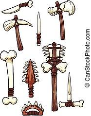 Bone weapons - Prehistoric bone weapons. Vector clip art...