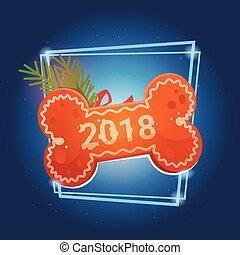 Bone With 2018 On Blue Background New Year Decoration Design...