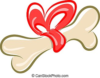 Bone with a bow, illustration, vector on white background.