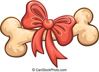bone with a red bow, vector, isolated on white