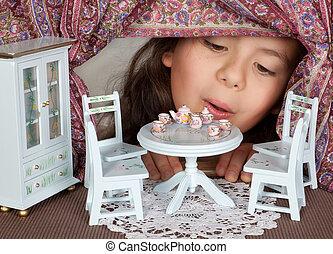 boneca, casa, janela