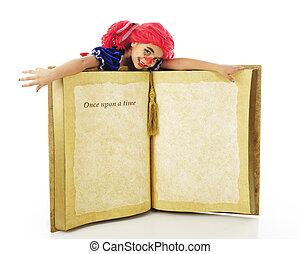 boneca, livro, vivendo, trapo