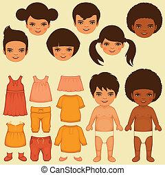 boneca papel, crianças, rosto