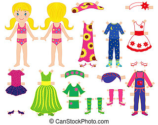 boneca papel, jogo, dela, roupas