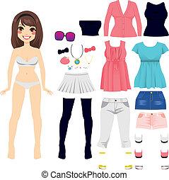 boneca, papel, moda, mulheres