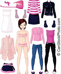 boneca papel, roupa