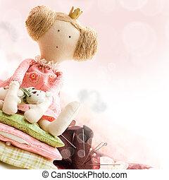 boneca, princesa, e, têxtil, e, cosendo, acessório