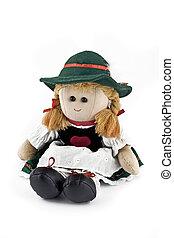 boneca trapo, nacional, isolado, traje, austríaco, (folk)