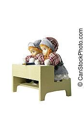 bonecas, escola, brinquedo, dois, escrivaninha
