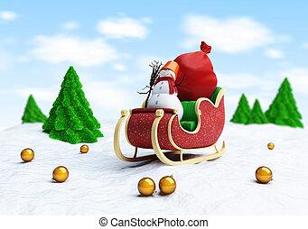 boneco neve, árvore abeto, santa, presentes, saco, santa, sleigh