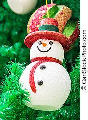 boneco neve, árvore, natal