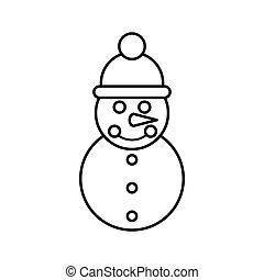 boneco neve, ícone, estilo, esboço