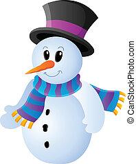 boneco neve, 1, tema, inverno, imagem