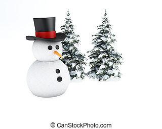boneco neve, 3d., inverno, conceito, branco, fundo