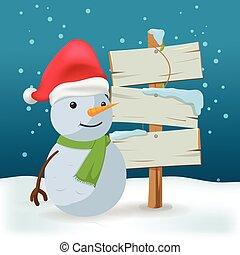 boneco neve, ao ar livre, vetorial, sinal, madeira, caricatura