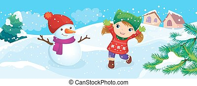 boneco neve, apreciar, menina, neve