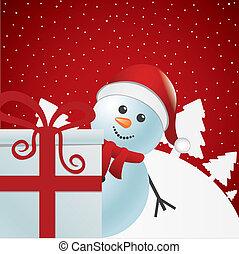 boneco neve, atrás de, branca, presente, inverno