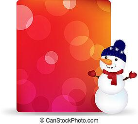 boneco neve, bokeh, tag, presente, em branco