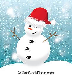 boneco neve, boné azul, experiência vermelha