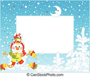 boneco neve, borda, natal