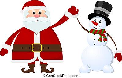 boneco neve, branca, claus, santa, fundo