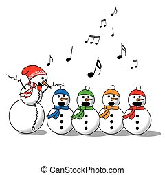 boneco neve, cantando, -choir