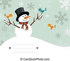 boneco neve, cartão