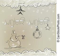 boneco neve, cartão natal
