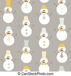 boneco neve, chapéus inverno, -, seamless, vetorial, retro, fundo, bigode
