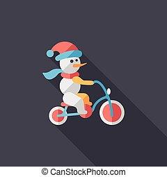 boneco neve, ciclismo, apartamento, ícone, com, longo, sombra