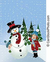 boneco neve, crianças, fazer