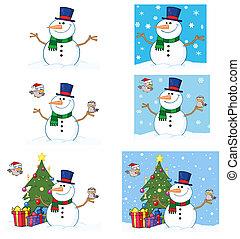 boneco neve, cute, amigável, pássaros