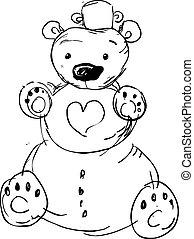 boneco neve, cute, -, urso, vetorial, ilustração