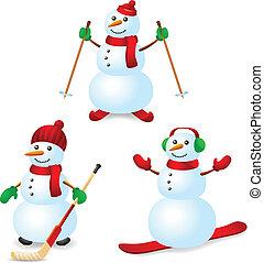 boneco neve, desporto, jogo