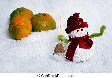 boneco neve, e, maçãs, em, neve